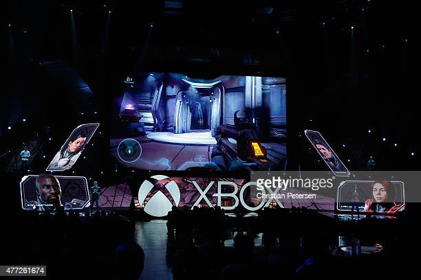 Halo 5 Guardians gameplay is demonstrated during the Microsoft Xbox E3 press conference at the Galen Center on June 15 2015 in Los Angeles California...
