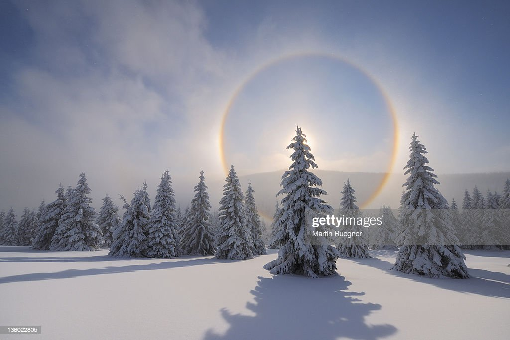 Halo (Icebow or gloriole). : Stock Photo
