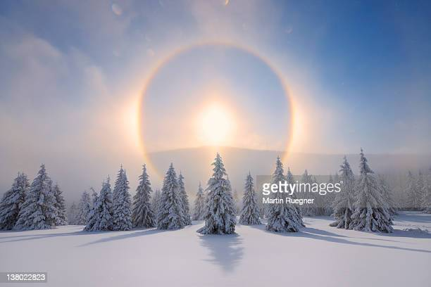 halo (icebow or gloriole). - corona sun stock pictures, royalty-free photos & images