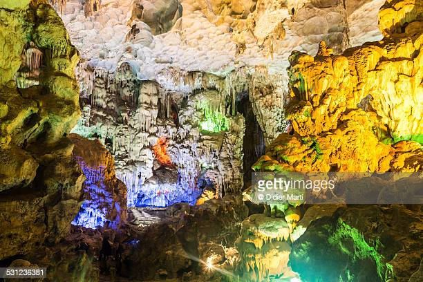 halong bay cave - didier marti stock photos and pictures