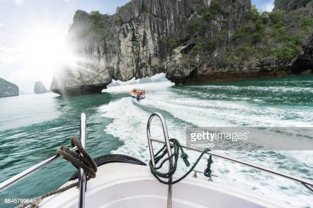Halong bay on the speedboat in Vietnam,Southeast Asia.