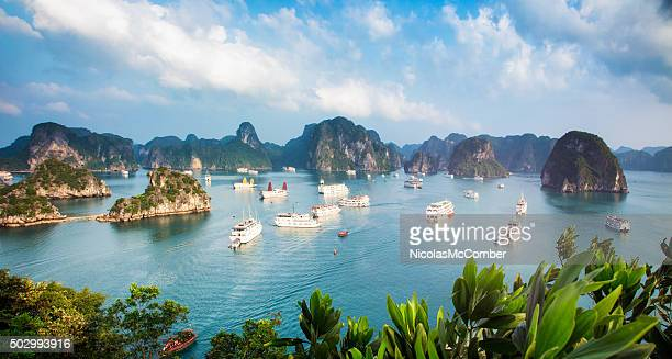 halong bay vietnam panorama at sunset with anchored ships - vietnam stock pictures, royalty-free photos & images