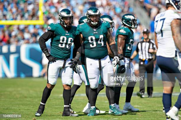 Haloti Ngata and Derek Barnett of the Philadelphia Eagles at the line of scrimmage during a game against the Tennessee Titans at Nissan Stadium on...