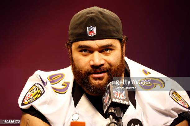 Haloti Ngata of the Baltimore Ravens answers questions from the media during Super Bowl XLVII Media Day ahead of Super Bowl XLVII at the MercedesBenz...