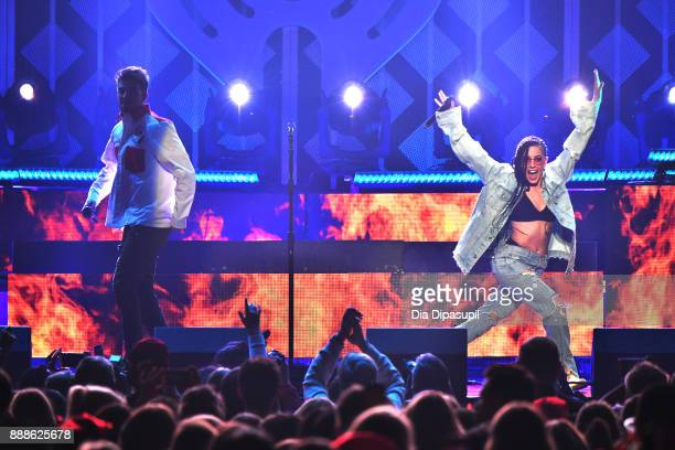Halsey and Andrew Taggart of The Chainsmokers perform onstage at the Z100's Jingle Ball 2017 on December 8 2017 in New York City