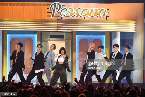 Halsey and BTS perform during the 2019 Billboard Music Awards at MGM Grand Garden Arena on May 1 2019 in Las Vegas Nevada