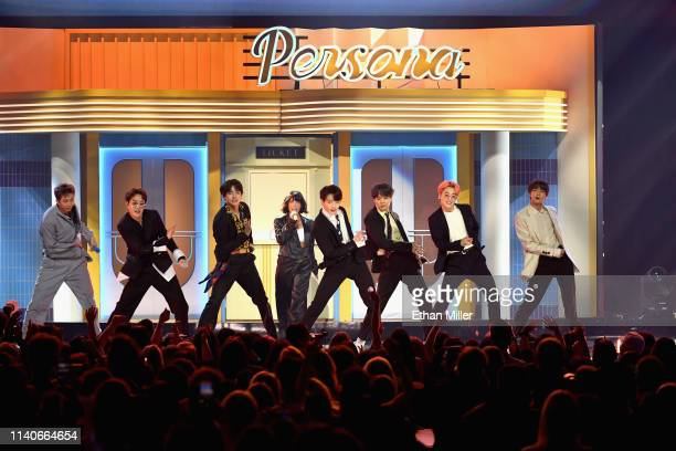 Halsey and BTS perform onstage during the 2019 Billboard Music Awards at MGM Grand Garden Arena on May 1 2019 in Las Vegas Nevada