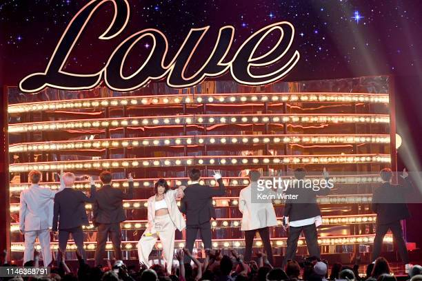 Halsey and BTS perform onstage during the 2019 Billboard Music Awards at MGM Grand Garden Arena on May 01 2019 in Las Vegas Nevada