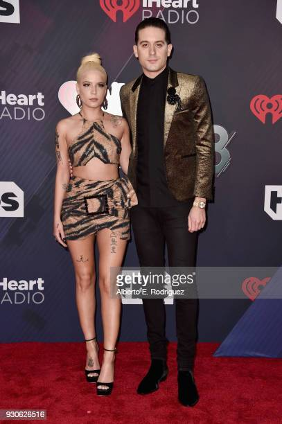 Halsey and GEazy arrive at the 2018 iHeartRadio Music Awards which broadcasted live on TBS TNT and truTV at The Forum on March 11 2018 in Inglewood...