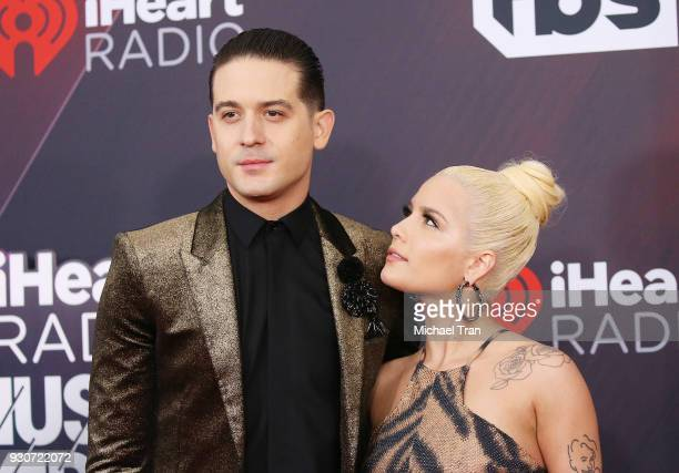 Halsey and GEazy arrive to the 2018 iHeartRadio Music Awards held at The Forum on March 11 2018 in Inglewood California