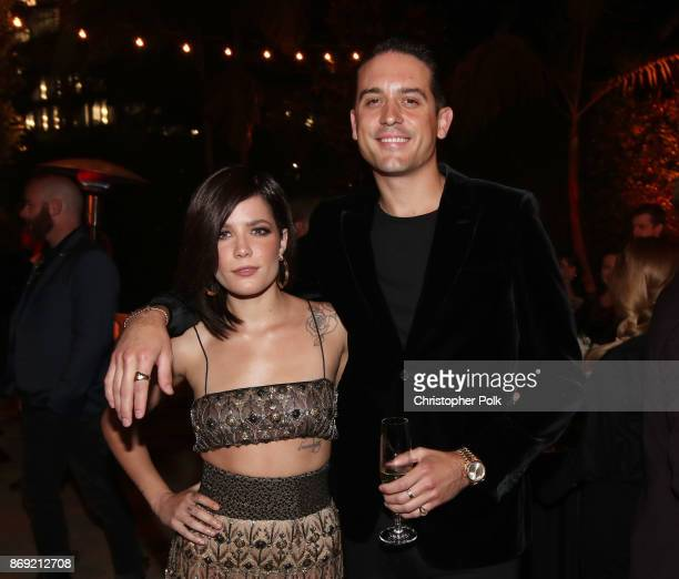 Halsey and GEazy attend Spotify's Inaugural Secret Genius Awards hosted by Lizzo at Vibiana on November 1 2017 in Los Angeles California
