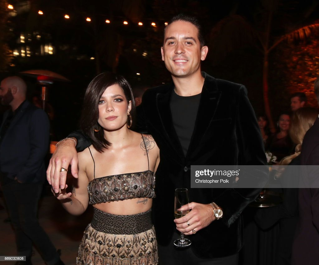 Halsey (L) and G-Eazy attend Spotify's Inaugural Secret Genius Awards hosted by Lizzo at Vibiana on November 1, 2017 in Los Angeles, California.