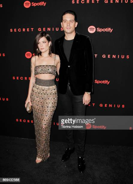 Halsey and GEazy attend Spotify's Inaugural Secret Genius Awards on November 1 2017 in Los Angeles California