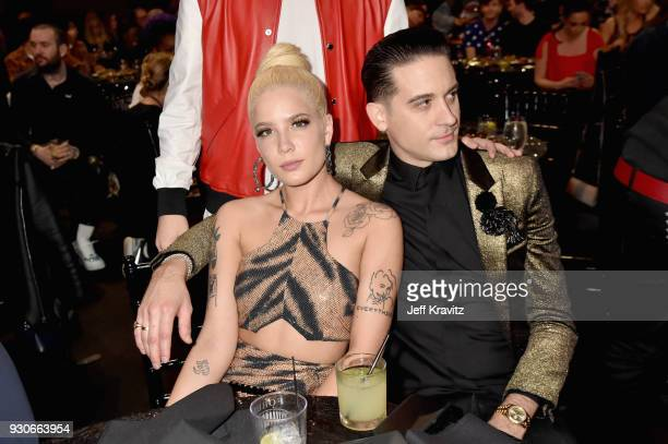 Halsey and GEazy attend the 2018 iHeartRadio Music Awards which broadcasted live on TBS TNT and truTV at The Forum on March 11 2018 in Inglewood...