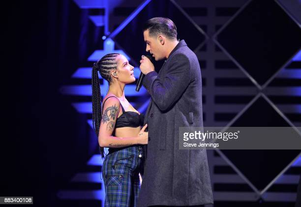 Halsey and GEazy perform onstage at WiLD 949's FM's Jingle Ball 2017 Presented by Capital One at SAP Center on November 30 2017 in San Jose California