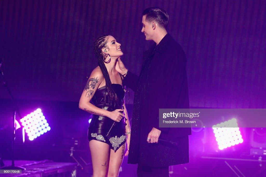 Halsey (L) and G-Eazy perform onstage during Dick Clark's New Year's Rockin' Eve with Ryan Seacrest 2018 on December 31, 2017 in Los Angeles, California.