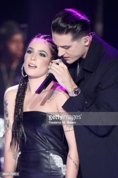 Halsey and GEazy perform onstage during Dick Clark's New Year's Rockin' Eve with Ryan Seacrest 2018 on December 31 2017 in Los Angeles California