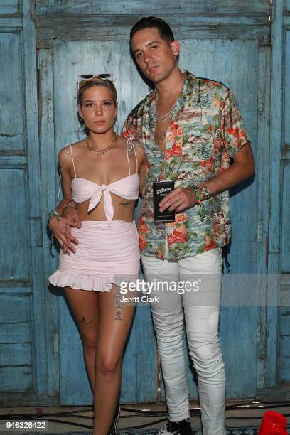 Halsey and GEazy Stillhouse Spirits Co Partner and CoCreative Director attend the Pool Party at Playboy Social Club on April 14 2018 in Palm Springs...