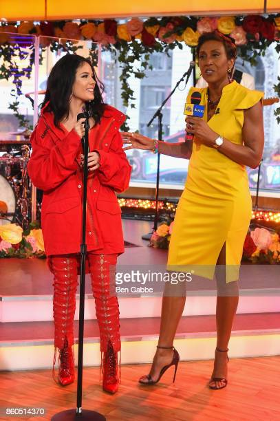 Halsey and Good Morning America anchor Robin Roberts speak during the 2017 American Music Awards nominations announcement at Good Morning America...