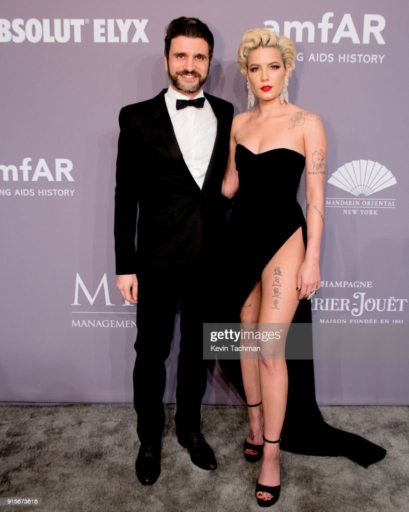 Halsey (R) and guest attend the 2018 amfAR Gala New York at Cipriani Wall Street on February 7, 2018 in New York City.