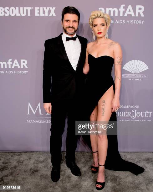 Halsey and guest attend the 2018 amfAR Gala New York at Cipriani Wall Street on February 7 2018 in New York City