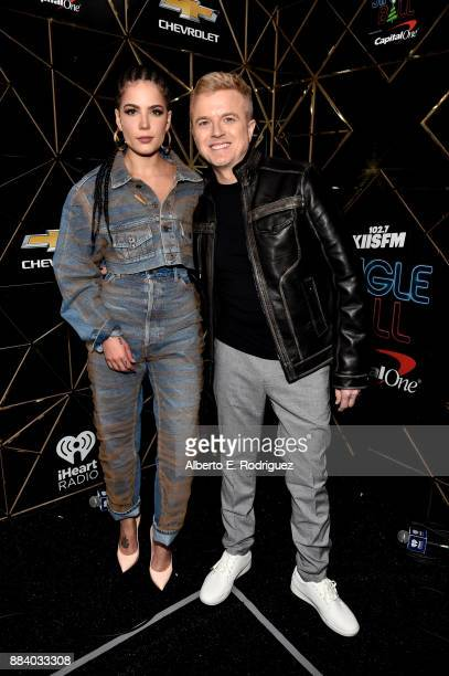 Halsey and JoJo Wright pose in the press room during 1027 KIIS FM's Jingle Ball 2017 presented by Capital One at The Forum on December 1 2017 in...