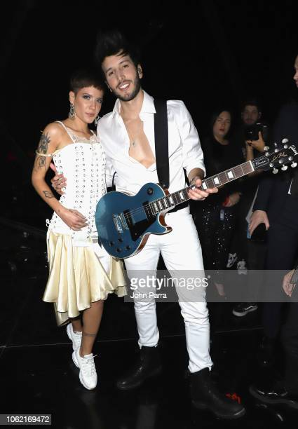 Halsey and Sebastian Yatra seen during the 19th annual Latin GRAMMY Awards at MGM Grand Garden Arena on November 15 2018 in Las Vegas Nevada