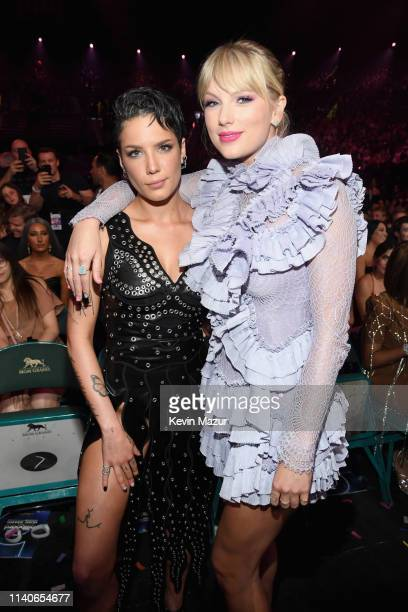 Halsey and Taylor Swift attend the 2019 Billboard Music Awards at MGM Grand Garden Arena on May 1, 2019 in Las Vegas, Nevada.