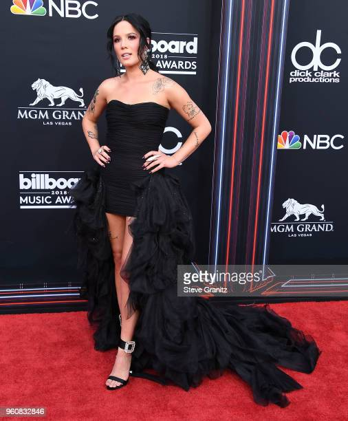 Halsey arrives at the 2018 Billboard Music Awards at MGM Grand Garden Arena on May 20 2018 in Las Vegas Nevada