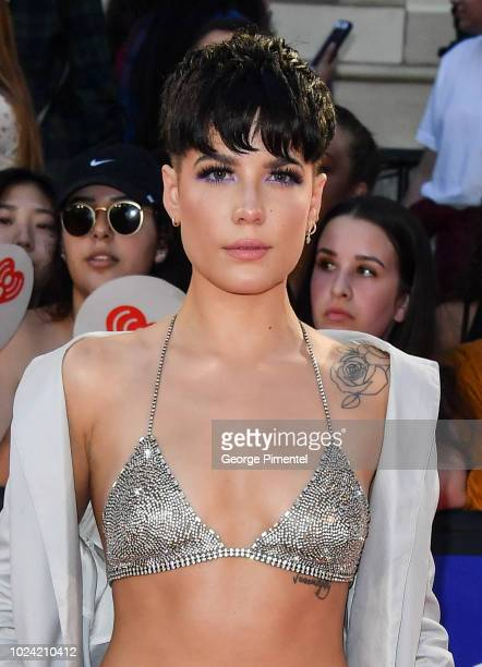Halsey arrives at the 2018 iHeartRADIO MuchMusic Video Awards at MuchMusic HQ on August 26, 2018 in Toronto, Canada.