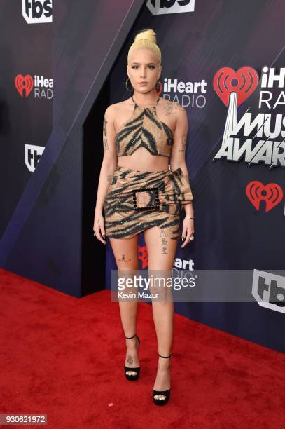 Halsey arrives at the 2018 iHeartRadio Music Awards which broadcasted live on TBS TNT and truTV at The Forum on March 11 2018 in Inglewood California