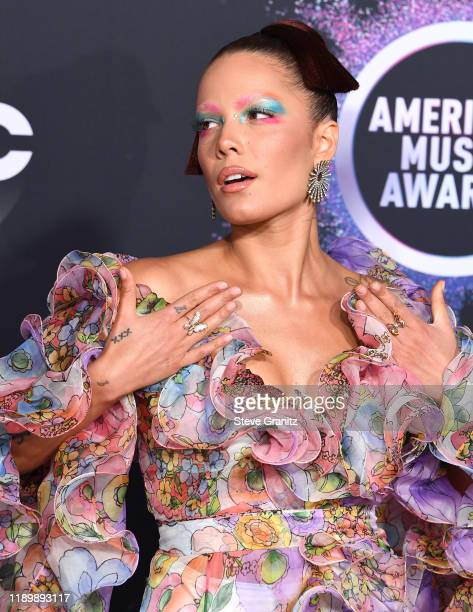 Halsey arrives at the 2019 American Music Awards at Microsoft Theater on November 24 2019 in Los Angeles California