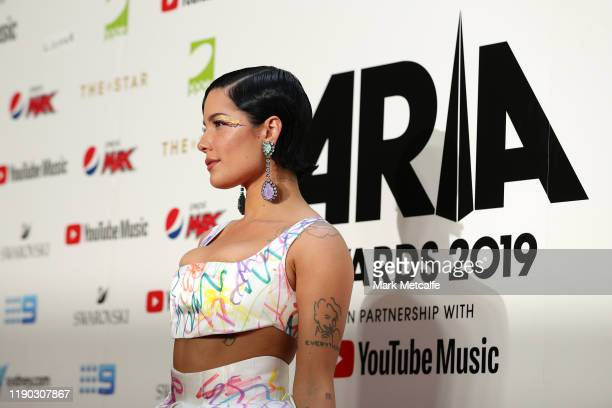Halsey arrives for the 33rd Annual ARIA Awards 2019 at The Star on November 27, 2019 in Sydney, Australia.