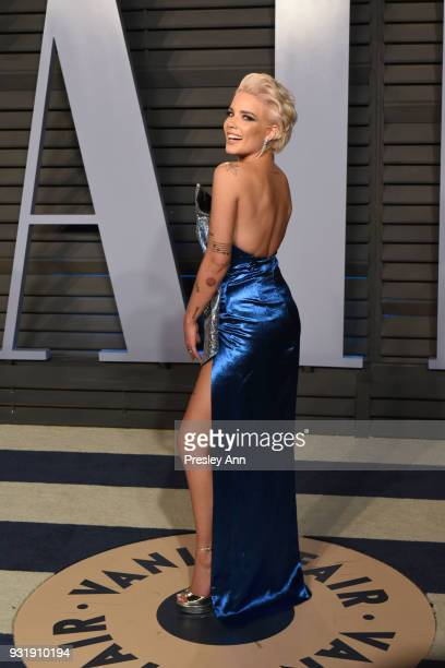 Halsey attends 2018 Vanity Fair Oscar Party Hosted By Radhika Jones - Arrivals at Wallis Annenberg Center for the Performing Arts on March 4, 2018 in...