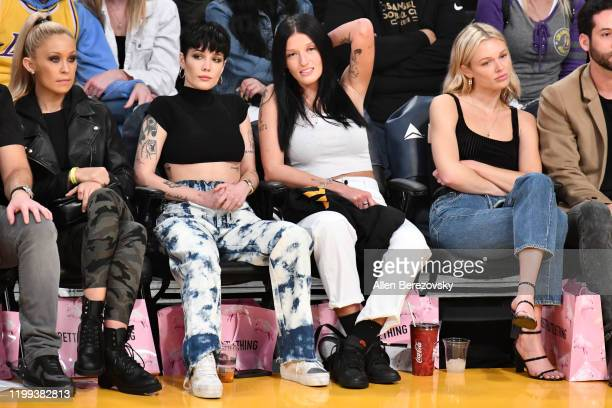 Halsey attends a basketball game between the Los Angeles Lakers and the Cleveland Cavaliers at Staples Center on January 13 2020 in Los Angeles...