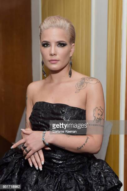 Halsey attends Lorraine Schwartz launches The Eye Bangle a new addition to her signature Against Evil Eye Collection at Delilah on March 13 2018 in...