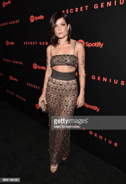 Halsey attends Spotify's Inaugural Secret Genius Awards hosted by Lizzo at Vibiana on November 1 2017 in Los Angeles California