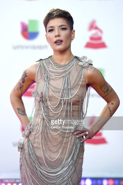 Halsey attends the 19th annual Latin GRAMMY Awards at MGM Grand Garden Arena on November 15 2018 in Las Vegas Nevada