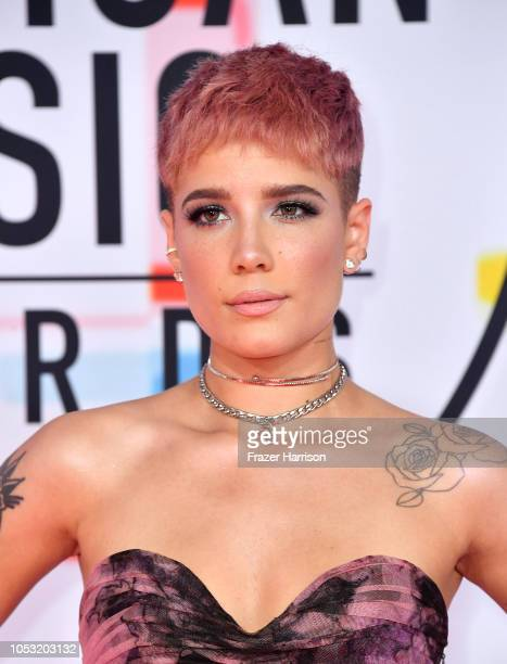 Halsey attends the 2018 American Music Awards at Microsoft Theater on October 09 2018 in Los Angeles California
