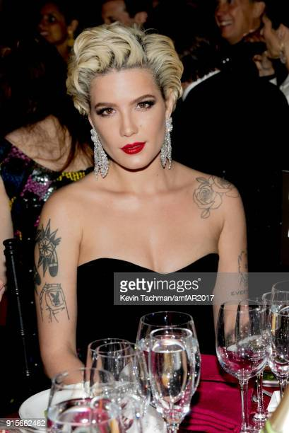 Halsey attends the 2018 amfAR Gala New York at Cipriani Wall Street on February 7 2018 in New York City