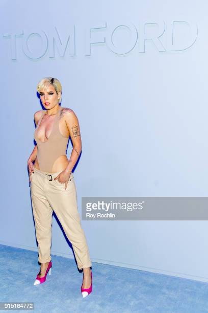Halsey attends the Tom Ford Fall/ Winter 2018 Men's Runway Show at Park Avenue Armory on February 6 2018 in New York City