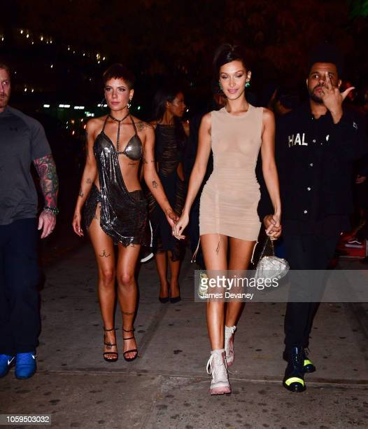Halsey Bella Hadid and The Weeknd leave Avenue on November 8 2018 in New York City