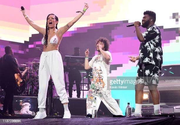 Halsey, Benny Blanco and Khalid perform on Coachella Stage during the 2019 Coachella Valley Music And Arts Festival on April 14, 2019 in Indio,...