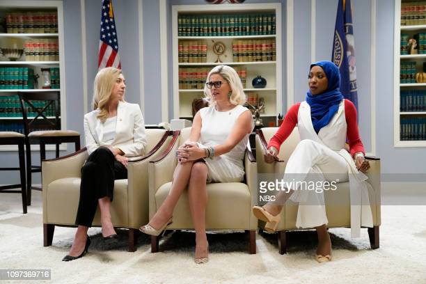 LIVE 'Halsey' Episode 1758 Pictured Heidi Gardner as Abigail Spanberger Cecily Strong as Kyrsten Sinema and Ego Nwodim as Ilhan Omar during the...