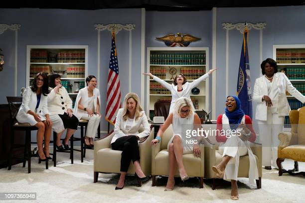 "Halsey"" Episode 1758 -- Pictured: Host Halsey as Rashida Tlaib, Aidy Bryant as Annie Kuster, Melissa Villaseñor as Alexandria Ocasio-Cortez, Heidi..."