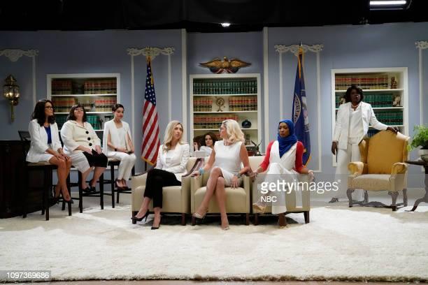 LIVE 'Halsey' Episode 1758 Pictured Host Halsey as Rashida Tlaib Aidy Bryant as Annie Kuster Melissa Villaseñor as Alexandria OcasioCortez Heidi...