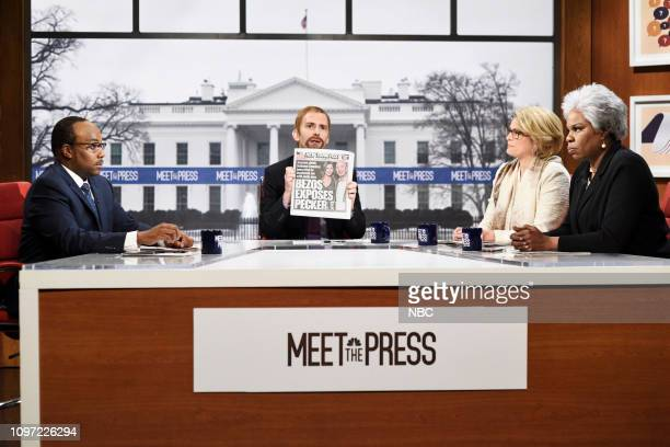 LIVE Halsey Episode 1758 Pictured Kenan Thompson as Eugene Robinson Kyle Mooney as Chuck Todd Cecily Strong as Peggy Noonan and Leslie Jones as Donna...