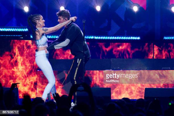 Halsey joins The Chainsmokers as they perform during the Q102's iHeartRadio Jingle Ball 2017 at the Wells Fargo Center in Philadelphia PA on December...