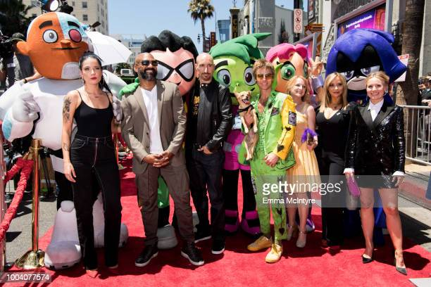 Halsey, Khary Payton, Scott Menville, Greg Cipes, Hynden Walch, Tara Strong and Kristen Bell attend the Los Angeles premiere of Warner Bros....