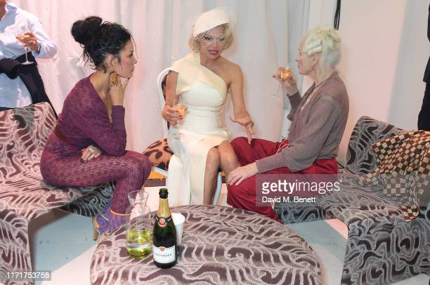 Halsey Pamela Anderson and Dame Vivienne Westwood attend the Andreas Kronthaler For Vivienne Westwood Womenswear Spring/Summer 2020 show as part of...